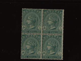 Bahamas. Michel 11b ★ , 1898 Victoria 1 Sh blue-green in a fresh block-of-four. EUR220