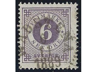 Sweden. Facit 44a used , 6 öre bluish lilac. Superb cancellation WADSTENA 6.11.1889.
