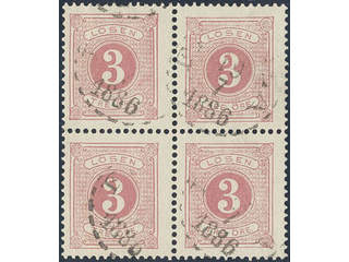 Sweden. Postage due Facit L12 used , 3 öre red, perf 13 in block of four cancelled …