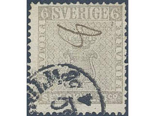 Sweden. Facit 3f used , 6 skill grey-brown on medium thick paper. Fine copy with …