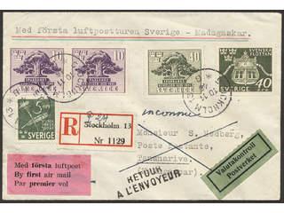 Sweden. Facit 356 etc. cover , Luftpostbrev till Madagaskar sänt med första flyg, …