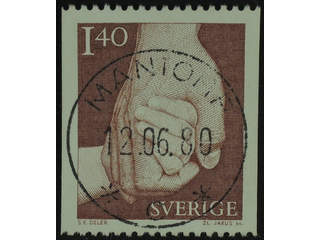 Sweden. Facit 1120 used , 1980 Take Care of 1.40 Kr red-brown. EXCELLENT cancellation …
