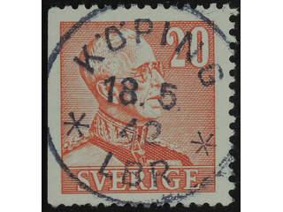 Sweden. Facit 276B used , 1940 Gustaf V large numerals 20 öre carmine-red, perf at three …