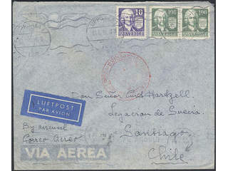 Sweden. Air mail cover Facit 260, 259C , 10+2x100 öre on air mail cover sent from …