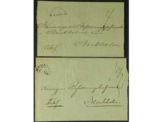 Sweden. D county. NYKÖPING FRBR, general mail. Two covers sent to Stockholm. Postal:500:-