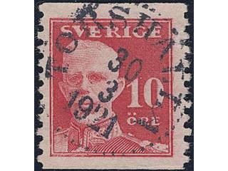 Sweden. Facit 149A used , 1920 Gustaf V full face 10 öre red, perf on two sides. …