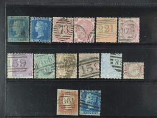 Britain. Used 1841-1880. All different, e.g. Mi 4A, 11B, 13z, 23-24, 28-29, 33, 38, 47, …