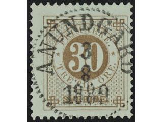 Sweden. Facit 47 used , 30 öre brown. EXCELLENT cancellation ANUNDGÅRD 3.8.1889.