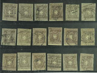 Italy Tuscany. Michel 19 a+c used , 1860 coat of arms 10 c. 18 copies. EUR<450