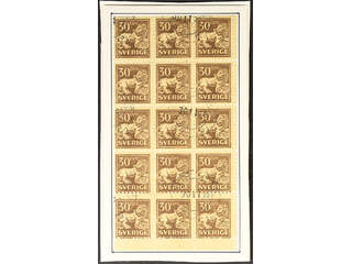 Sweden. Facit 148C used , 30 öre brown, perf on four sides, in block of 15 cancelled …