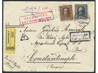 Austria. Michel 191, 193 cover , 20+30 h on nice censored registered cover sent from …
