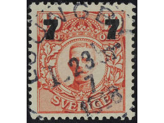 Sweden. Facit 99a used , Surcharge 7 / 10 öre carminish red. EXCELLENT cancellation …