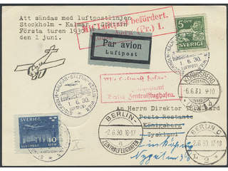 Sweden. Air mail cover Facit 143E, 231 , 5+10 öre on air mail printed matter sent to …