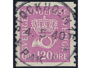 Sweden. Facit 172b used , 120 öre rose-lilac, on white paper. EXCELLENT cancellation …