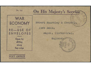 """Bahamas. OHMS cover with crowned """"Paid at Bahamas"""", sent to England from NASSAU 27 NOV 45."""