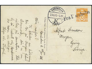 Denmark. Facit 110 cover , 10 øre on postcard sent to Sweden, cancelled FRA BORNHOLM and …
