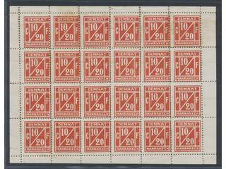 Morocco. Local (★) , DEMNAT MARRAKECH 10 c / 20 f red, 1906 issue, in full sheet of 24 …