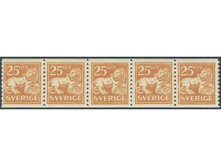 Sweden. Facit 147 ★★/★ , 25 öre orange. 25 öre orange in very fine strip of five. Two …