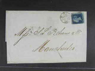 Britain. Michel 9B cover , 1855 Queen Victoria 2 d dark blue, wmk Small Crown perf 14 on …