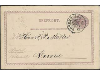 Sweden. Facit bKe6, E county. NORRKÖPING 30.6.1882. Beehive pmk on postcard 6 öre sent …