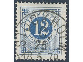 Sweden. Facit 32b used , 12 öre deep blue. Superb cancellation STOCKHOLM C 25.5.1879.