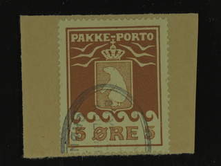 Denmark Greenland. Facit P6 I used , 5 øre red brown on paper, part of oval pmk. Perfect …