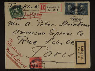 Sweden. Air mail cover Facit 143A, 176A, 183 , 5+15+2x25 öre on registered air mail …