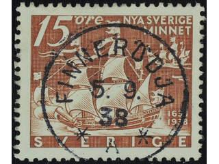 Sweden. Facit 262C used , 1938 New Sweden 15 öre brown, perf on four sides. EXCELLENT …
