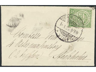Luxembourg. Michel 87 cover , 1907 5 C green on printed matter envelope sent from …