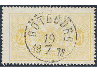 Sweden. Official Facit Tj7 used , 24 öre yellow, perf 14. EXCELLENT cancellation …