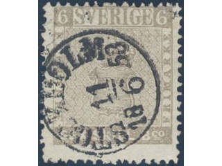 Sweden. Facit 3f used , 6 skill grey-brown on medium thick paper. Fine–very fine copy …