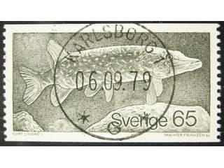 Sweden. Facit 1093 used , 1979 Animals 65 öre olive-grey. EXCELLENT cancellation …