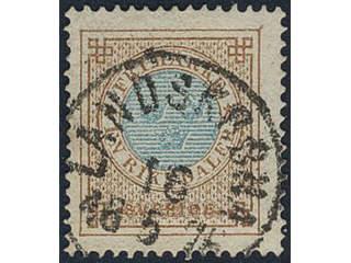 Sweden. Facit 27d used , 1 Riksdaler orange-brown/blue. Beautiful copy cancelled …