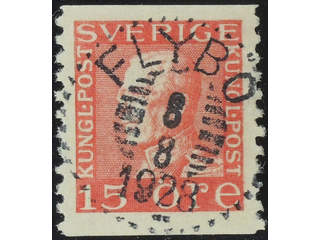 Sweden. Facit 176A used , 15 öre red, type I vertical perf. EXCELLENT cancellation FLYBO …