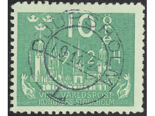 Sweden. Facit 197cx used , 10 öre green, with watermark lines. EXCELLENT cancellation …