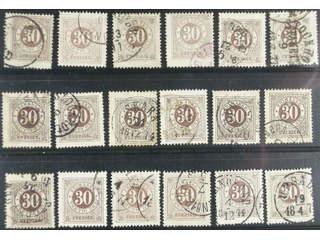 Sweden. Facit 25 used , 30 öre brown. 30 öre brown, eighteen used copies. Shades, …
