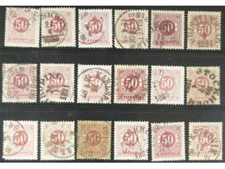 Sweden. Facit 48 used , 50 öre red, eighteen used copies. Shades, varieties, …