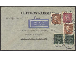 Sweden. Air mail cover Facit 166, 178A, 187 , 2×15+35+2×85öre on decorative air mail …