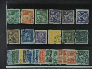 Sweden. Used 1920-36. Small coilstamps. All different, e.g. F 140Ccx, 141bz, 144Ccx, …
