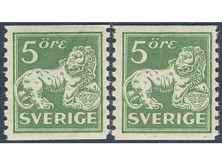 Sweden. Facit 143Acc ★★ , 5 öre green, type II with inverted wmk lines. Two very fine …