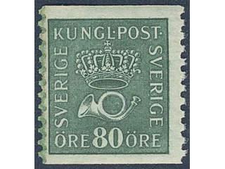 Sweden. Facit 165cxz ★★ , 80 öre blue-green with watermark lines + KPV. SEK1000