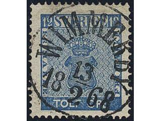 Sweden. Facit 9c3 used , 12 öre blue, perforation of 1865. EXCELLENT cancellation …
