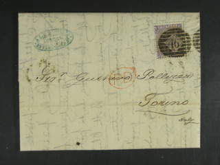 Britain. Michel 25 cover , 1865 Queen Victoria new types, large white letters 6 d lilac, …