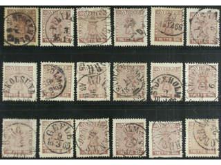 Sweden. Facit 11 used , 30 öre brown, eighteen used copies. Shades, varieties, …
