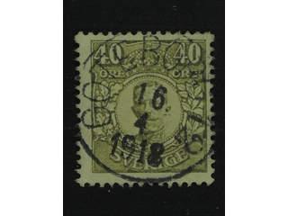 Sweden. Facit 90 used , 40 öre olive. EXCELLENT cancellation GÖTEBORG 12 16.4.1918.