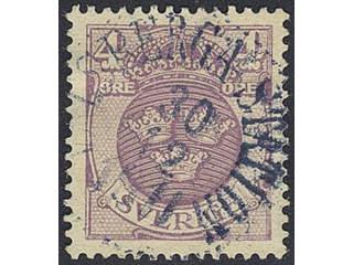 Sweden. Facit 74, D county. VALSBERGA STATION 30.12.1911. Superb cancellation. Short perf.