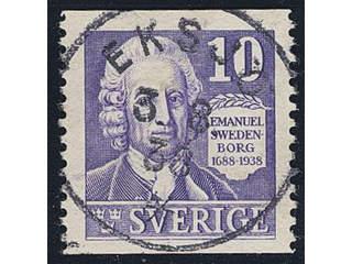 Sweden. Facit 259A used , 1938 Emanuel Swedenborg 10 öre violet vertical perf with …