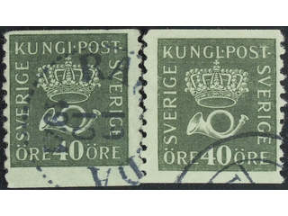 Sweden. Facit 159bz used , 40 öre olive-green, type II with watermark KPV, two used …