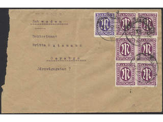 Germany American and British Zone. Michel 10, 15 cover , 1945 M in oval 3 pf and 12 pf. …