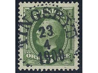 Sweden. Facit 52 used , 1891 Oscar II 5 öre green. EXCELLENT Cancellation TINGSRYD …